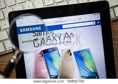 Chiangmai, Thailand - February 15, 2015: Photo Of Samsung.com Homepage On A Apple Ipad Screen.