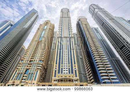 View of modern skyscrapers in Dubai Marina