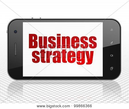 Business concept: Business Strategy on Smartphone display