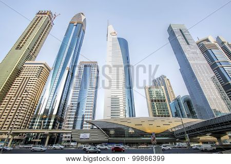 View of skyscrapers and Dubai Metro along Sheikh Zayed Road