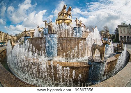 Kutaisi, Georgia -March 30, 2014: Fountain on the central square