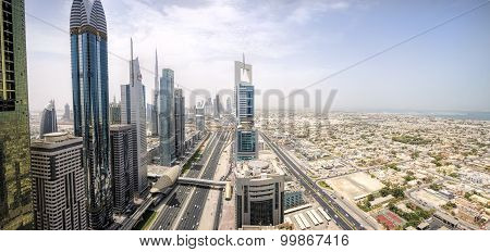 Panoramic view of Sheikh Zayed Road skyscrapers in Dubai, UAE