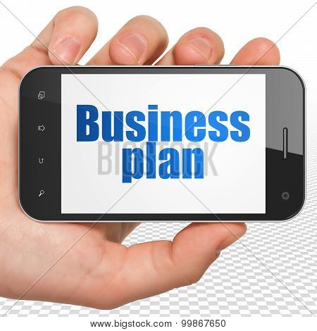 Finance concept: Business Plan on Hand Holding Smartphone display