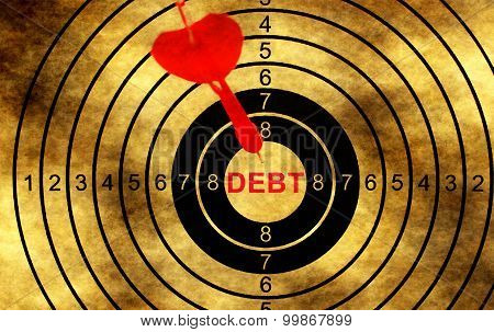 Debt Target On Grunge Background