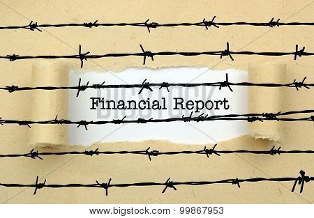 Financial Report Text Against Barbwire