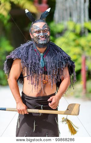 Maori tribes traditional greeting show. New Zealand