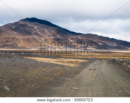 Barren inland landscape of northern Iceland