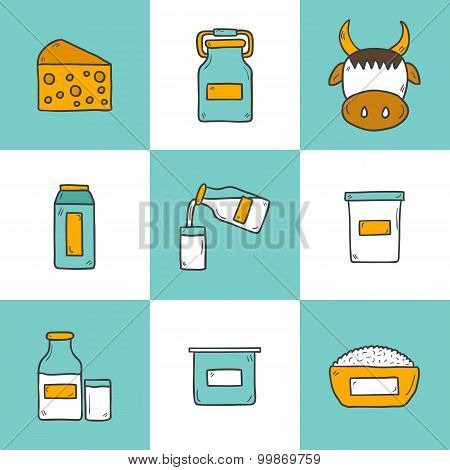 Set of cute hand drawn cartoon icons with products containing lactose: milk bottle, glass, cheese, c