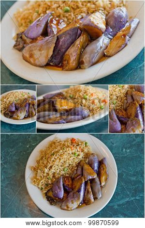 Collage images of Chinese sauteed eggplant with oyster sauce and fried rice