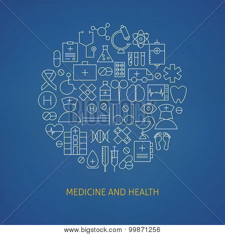 Thin Medical Line Health Care Icons Set Circle Shaped Concept