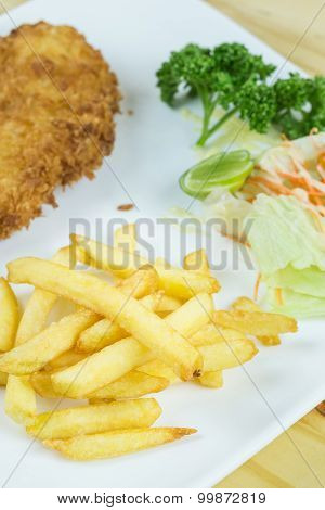 Fried Pork  and  French fries