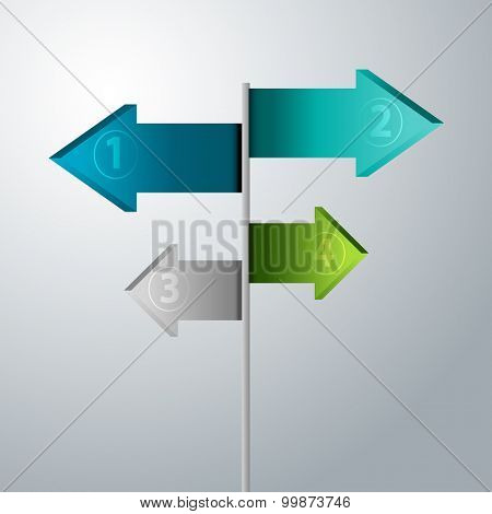 An image of a 3d arrow signpost icon.