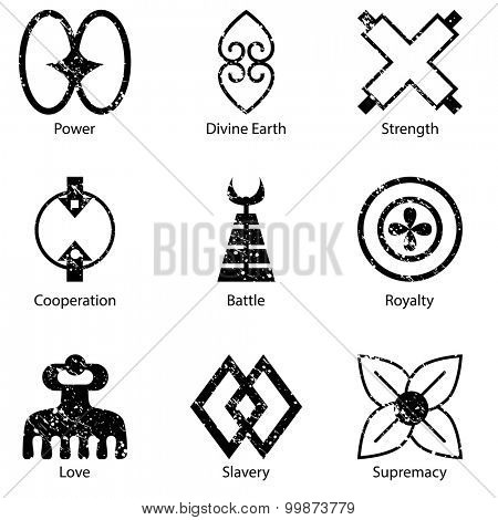 An image of an African Adinkra symbol icon set.