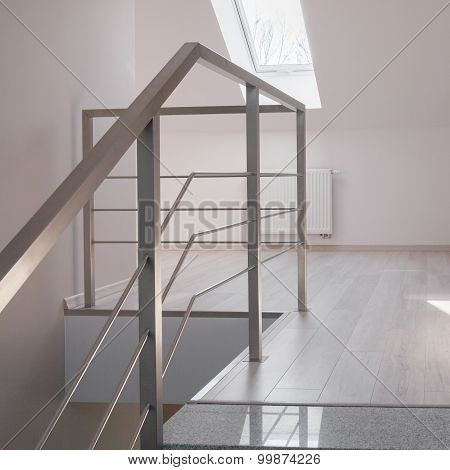 Steel Handrail And Marble Stairs