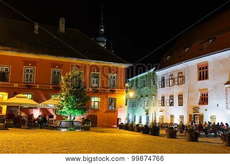 Sighisoara, Romania - July 07: Night View Of Historic Town Sighisoara On July 07, 2015. City In Whic