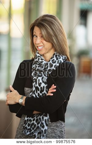 Cringing Business Woman