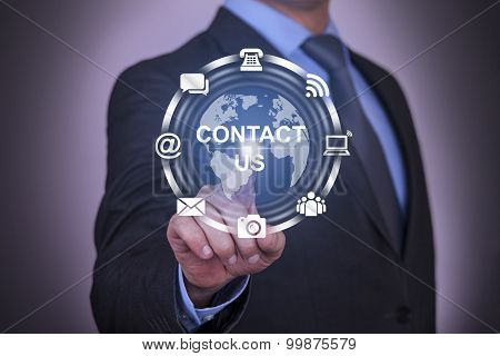 Global Communication Contact Us Concept Work on Touch Screen