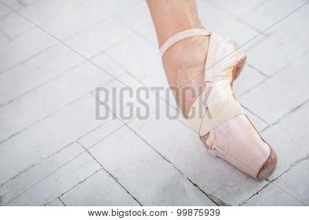 the leg of a ballerina on white background