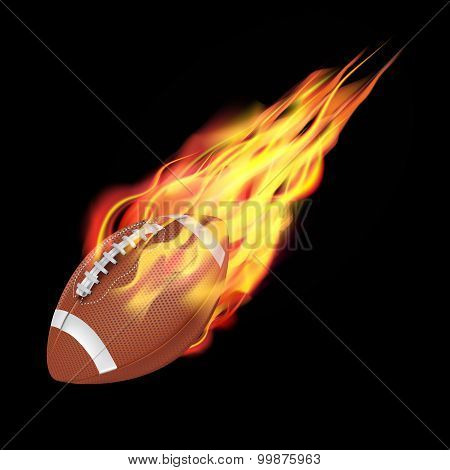American Football Ball In Fire