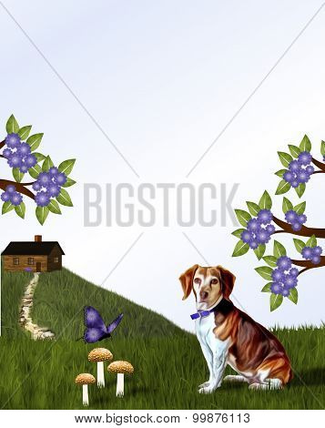 Beagle and Cabin on Hill