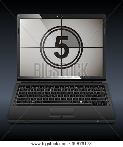 Black Vector Laptop With Countdown On The Screen