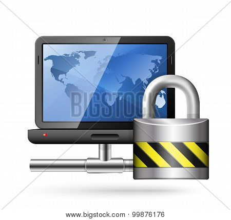Icon Of A Laptop With A Network Connection And Padlock. Vector Illustration