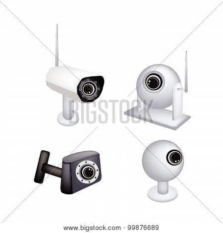 Set Of Cctv Security Camera On White Background