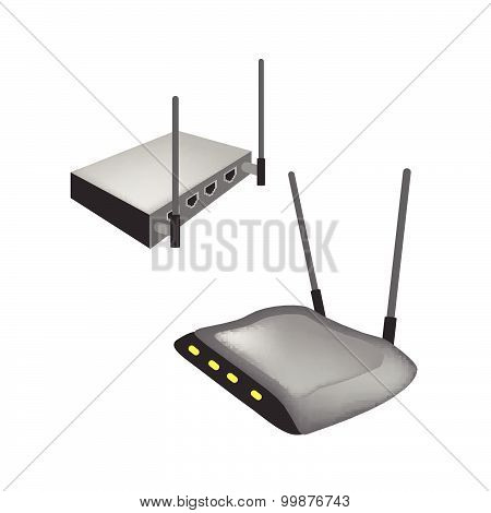 Two Black Wireless Router On White Background