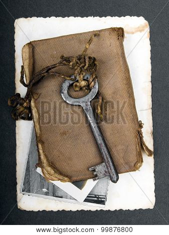 Rusty key old book and empty photography