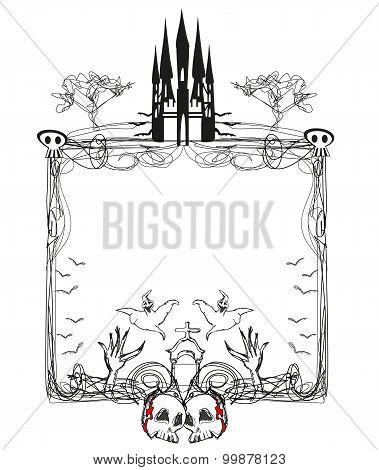 Doodle Vector Frame , Halloween Bones, Bats And Skulls