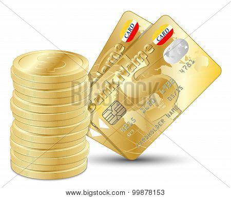 Dollar Coins With Two Gold Credit Cards. Vector