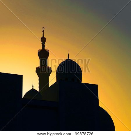 Sunset Silhouette Of A Mosque In Unated Arab Emirates