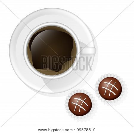 Coffee Cup With Two Chocolate Sweets On The White Background