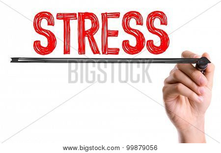 Hand with marker writing the word Stress