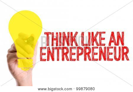 Hand with marker writing the word Think Like An Entrepreneur