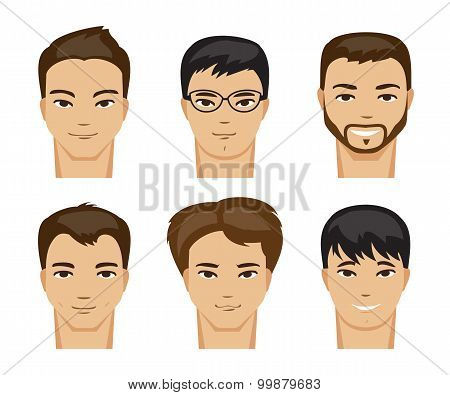 Collection Of Men With Different Hairstyles. Vector Illustration