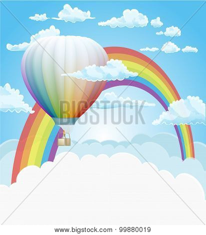 Hot Air Balloon And Rainbow In The Clouds Vector Background
