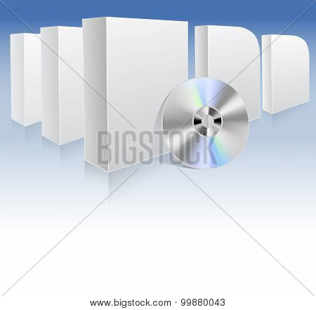 Background With White Boxes And Dvd. Vector Illustration