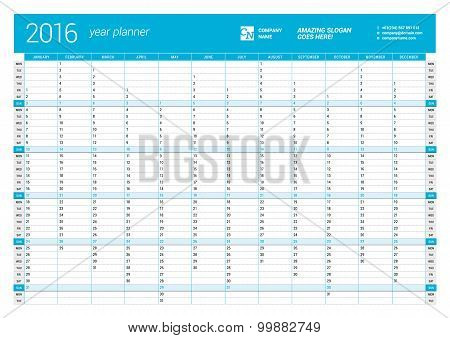 Blue Calendar Planner For 2016 Year. Vector Design Print Template. Week Starts Monday