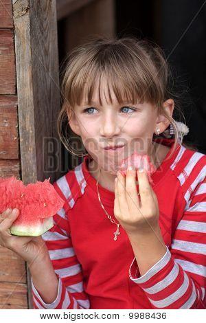 Girl Eats Watermelon