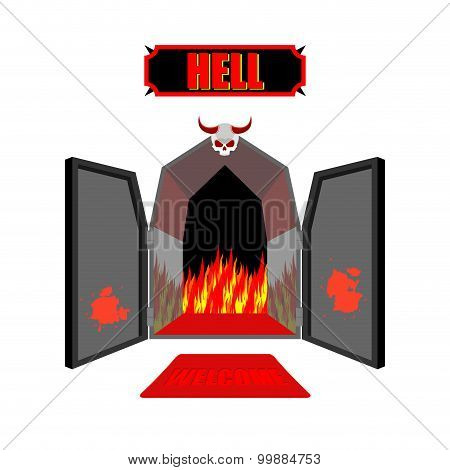Gate To Hell. Entrance To Hellish Inferno. Access To Satan. Flames For Combustion Of Sinners. Welcom