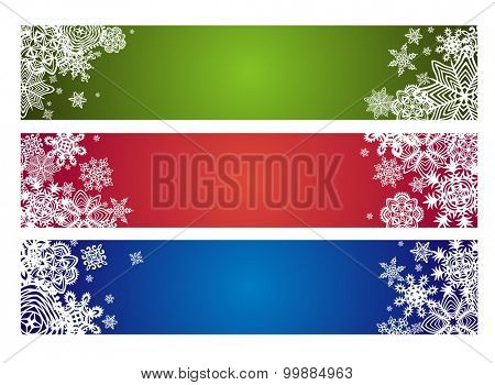 Winter horizontal banner with paper snowflakes