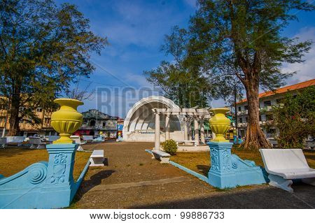 Colon, Panama - April 14, 2015 : Colon Is A Sea Port On The Caribbean Sea Coast Of Panama. The City
