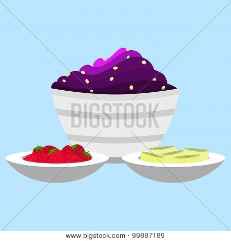Acai Cream With Side Dish