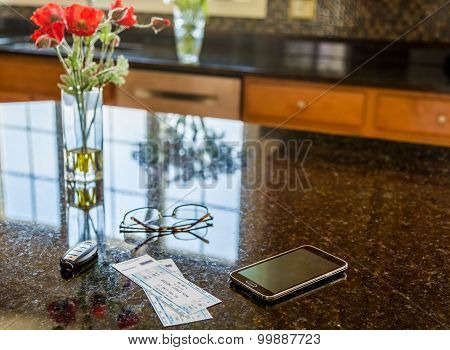 Pair Of Theater Tickets On Kitchen Worktop
