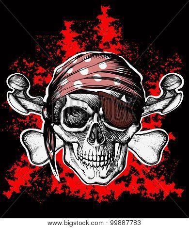 Jolly Roger pirate symbol with crossed bones