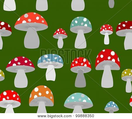Toxic Amanita Mushrooms Seamless Background. Mushrooms Seamless Pattern. Retro Fabric Ornament.