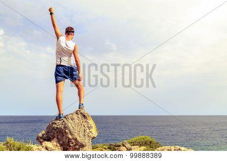 Happy Winner Climber Reaching Life Goal Success Man