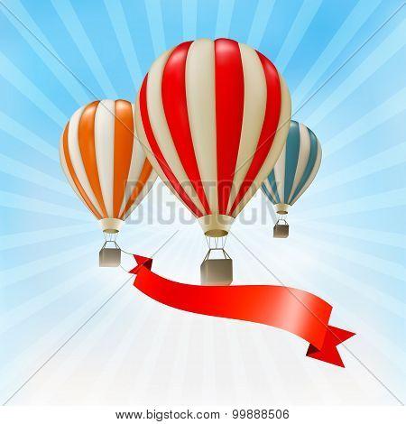 Air Balloons Background. Vector