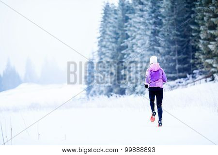 Woman Running In Winter, Fitness Inspiration And Motivation